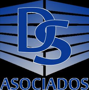 Logotipo de Delgado y Sánchez asociados. Se trata de una letra d y una letra s cruzadas sobre franjas azules que forman un edificio conceptual